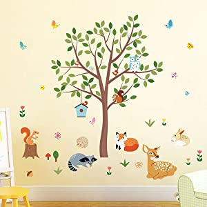 decalmile Forest Animals Tree Wall Decals Deer Squirrel Owl Wall Stickers Baby Nursery Kids Bedroom Playroom Wall Decor(Tree H: 31
