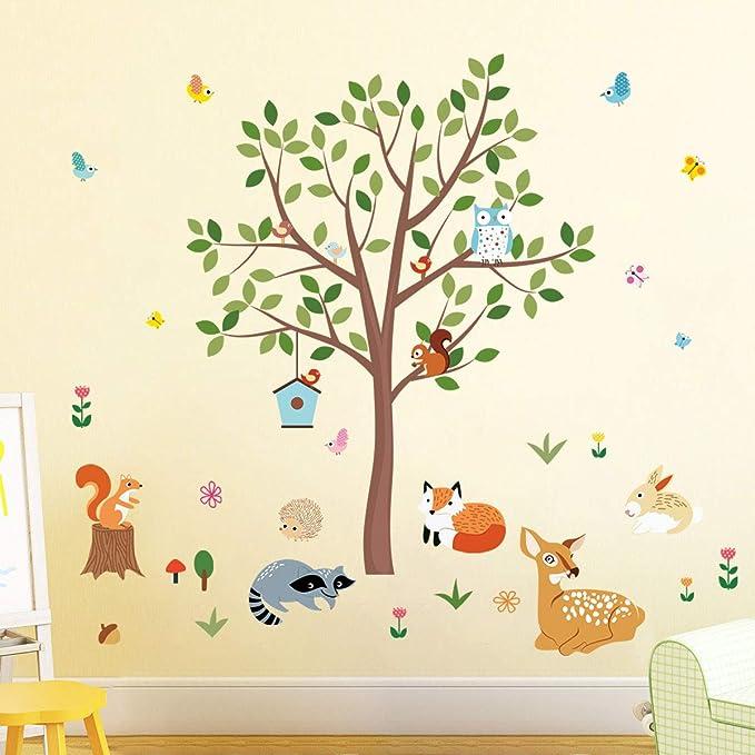 decalmile Woodland Animals Tree Wall Decal Owl Fox Deer Wall Stickers Baby Nursery Kids Bedroom Classroom Wall Decor H: 79cm