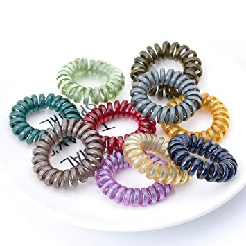 Amazon.com   Spiral Hair Ties Power Traceless Hair Ring Rubber Coil Hair  Bands Ponytail Holders No Crease for Women Girls Colorful   Beauty 8d5a5115a07