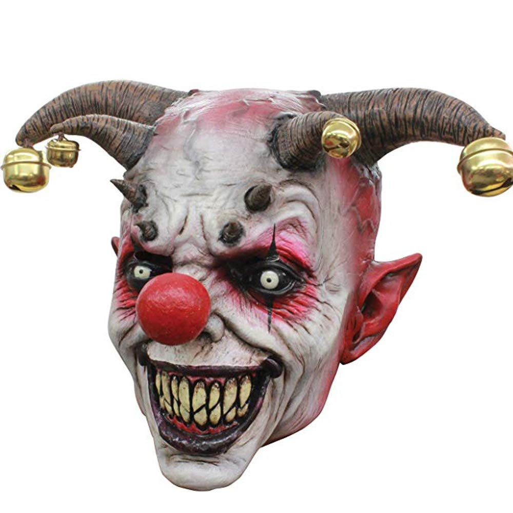 XIAO MO GU Latex Halloween Party Cosplay Face Mask Clown Costumes Mask (Orange Hair)