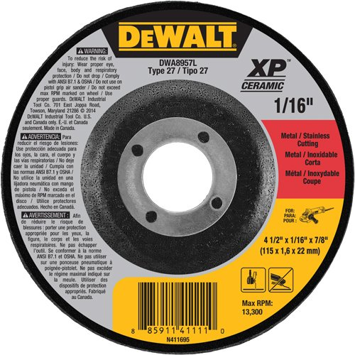 DEWALT DWA8957L XP Ceramic Type 27 Metal/Stainless Cutting Wheel, 4-1/2