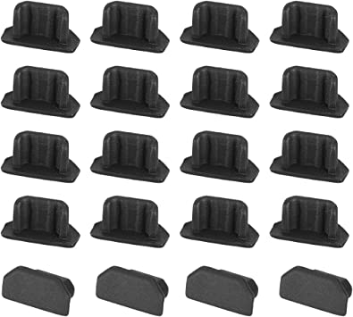 uxcell USB Dust Cover Stopper Cover Silicone for Micro USB Black 8Pcs Protector Plugs