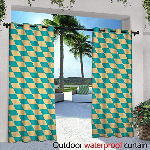 BlountDecor Geometric Outdoor Blackout Curtains W72 x L108 Art Deco Style Chess Table Dart Like Horizontal Vintage Image Outdoor Privacy Porch Curtains Turquoise and Light Yellow