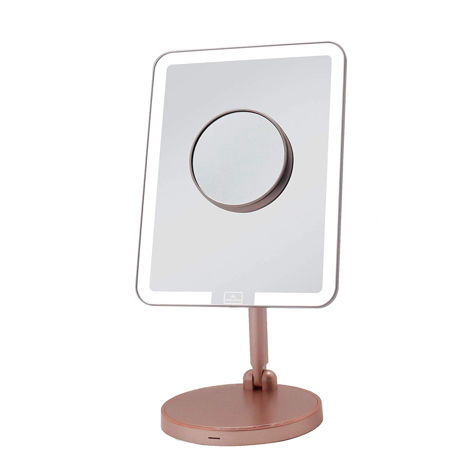 IMPRESSIONS Royale Petit Makeup Vanity Mirror with Adjustable LED Light | Rose Gold Beauty Mirror with 360-Degree Turning Standing Base & Wireless Charging Pad