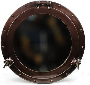 Nagina International Antique Coke Copper Wall Mounted Nautical Premium Aluminum Vintage Mirror | Ship's Porthole Window | Pirate's Maritime Nautical Themed Decor (24 Inches, Light Antique Mirror)