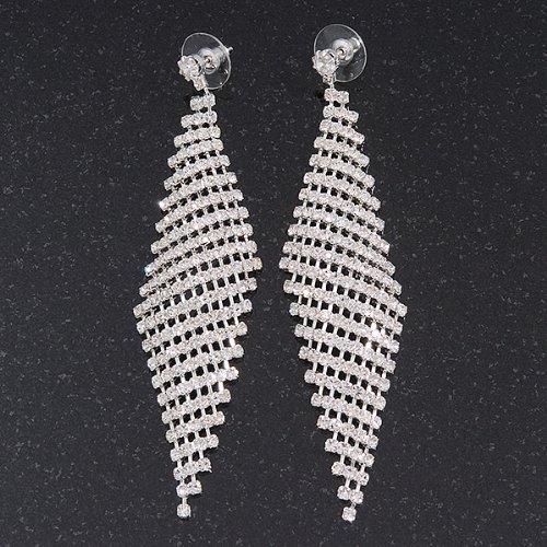 0e665b82a0f0a Long Swarovski Crystal Mesh Earrings In Silver Plating - 10cm Length