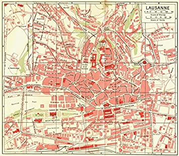 Amazoncom SWITZERLAND Lausanne 1923 vintage map Prints Posters