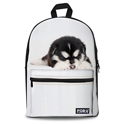 ed283bbb3a Injersdesigns White Canvas Backpack Small Husky Printed School Bag for Teens   Amazon.co.uk  Luggage