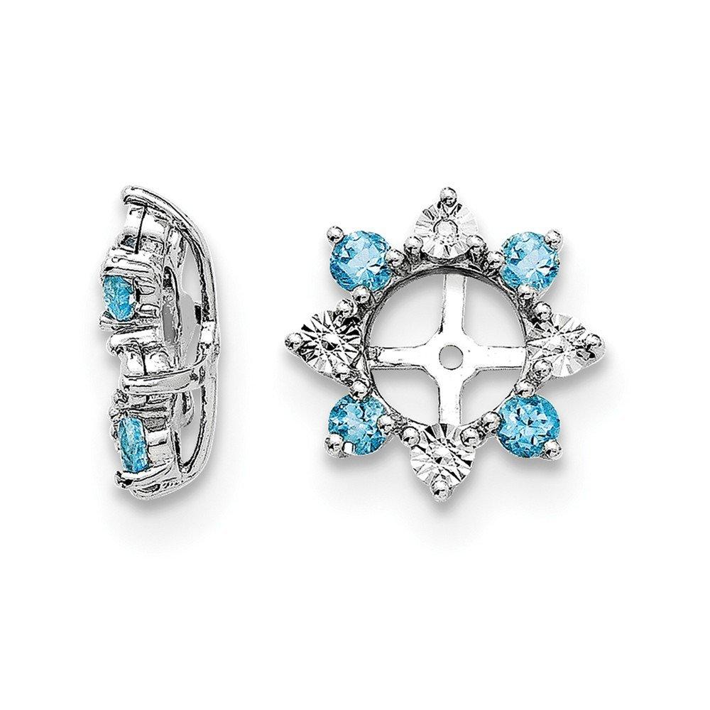 Sterling Silver Diamond and Swiss Blue Topaz Earrings Jacket