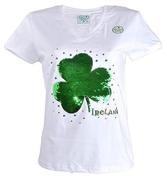 4b7e7fc3 Carrolls Irish Gifts Shamrock Designed Ladies V-Neck T-Shirt with 2-Way  Sequins, White Colour: Amazon.co.uk: Clothing