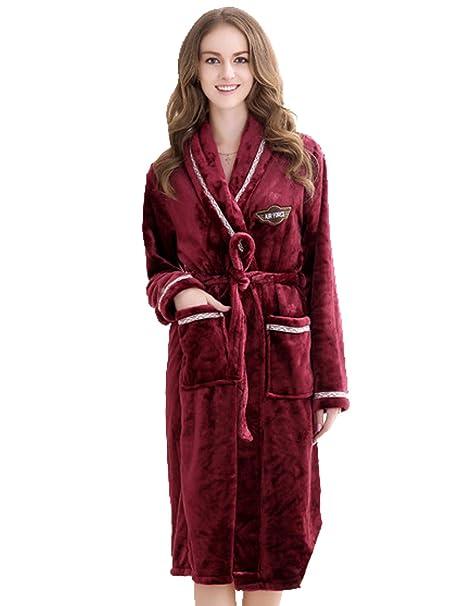 Menschwear Mujer Albornoz de Pellejo de Coral Pijamas Camisón de Serie(Medium,Rojo)