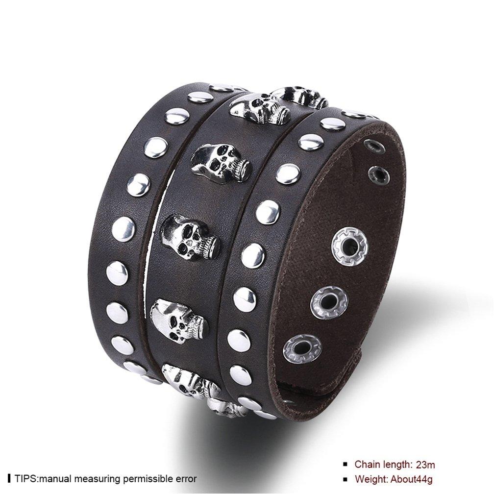 Unisex Punk Skull Rivet Black Wide Leather Bracelet Cuff Adjustable Wrap Bracelets