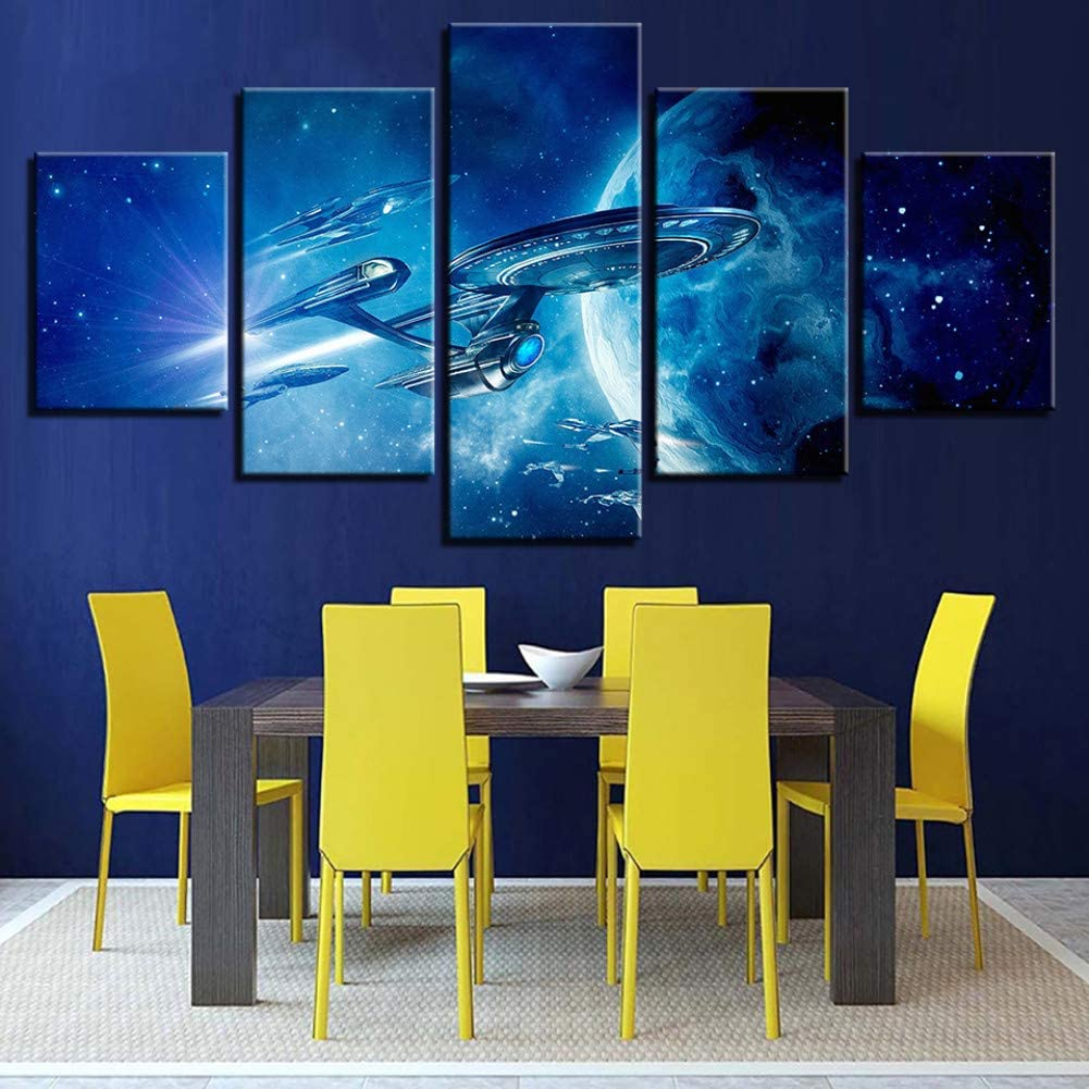 HIOJDWA Paintings Modern Canvas Painting Printed Wall Art Poster Frame Pictures Home Decor 5 Panel Movie Star Trek Landscape Modular Living Room