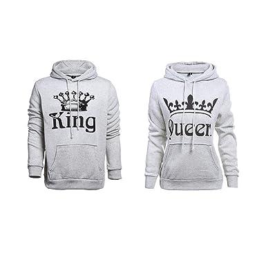 Pareja King & Queen Sudaderas con Capucha Manga Larga Encapuchado Jersey Pull-Over para Hombre y Mujer: Amazon.es: Ropa y accesorios
