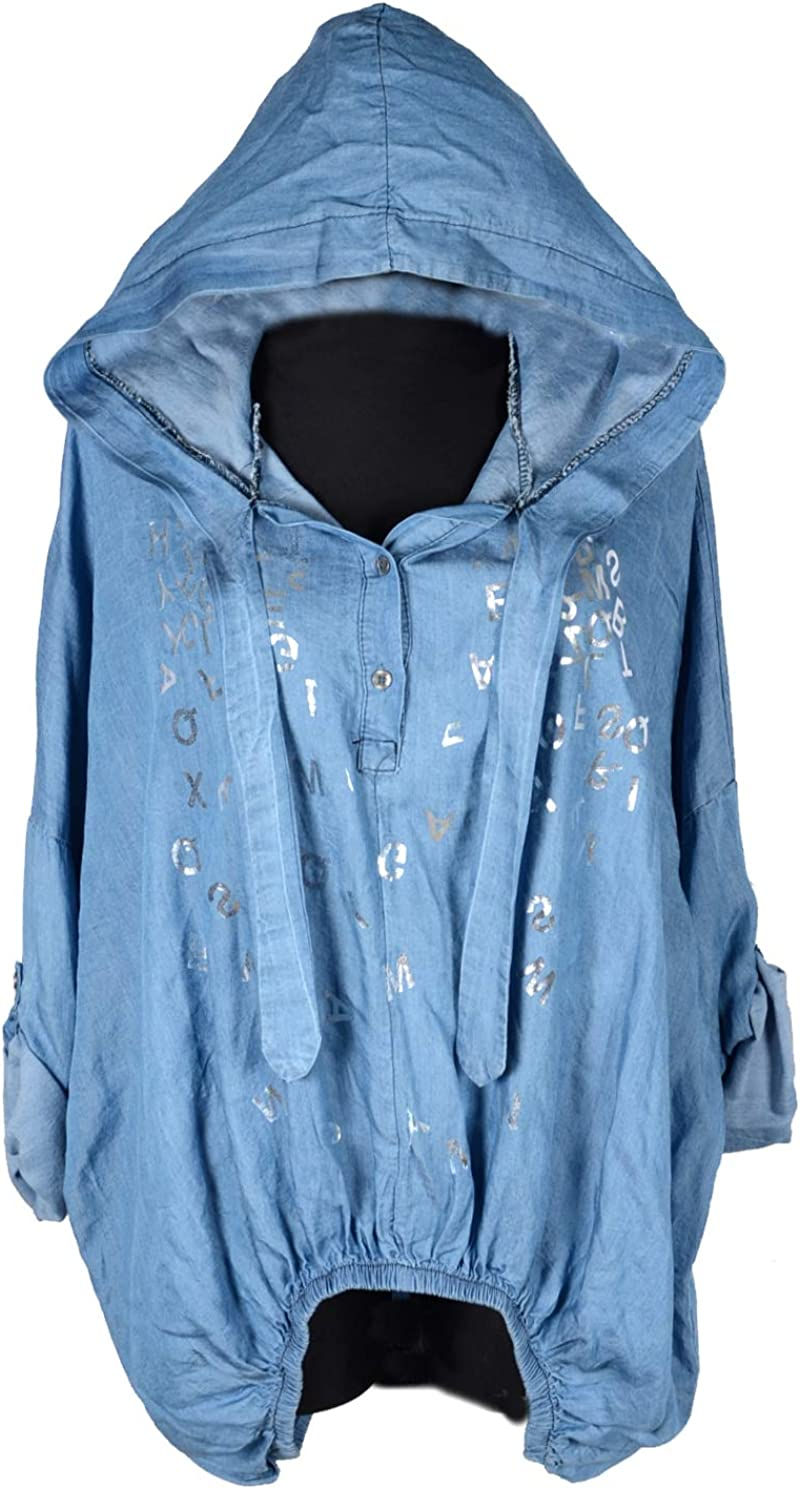 Damen T-Shirt Bluse Top Tunika Glitzer Jeansjacken Druck  44 46 48
