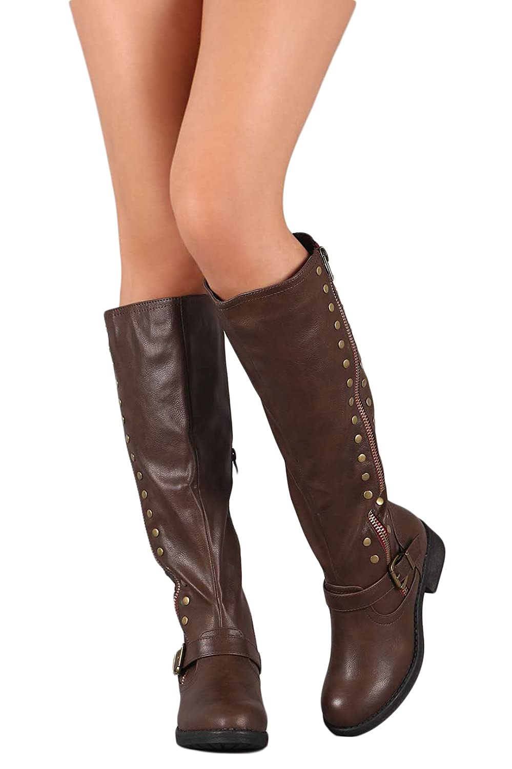 Amazon.com: Womens over La Rodilla Botas Cuff plegable ...