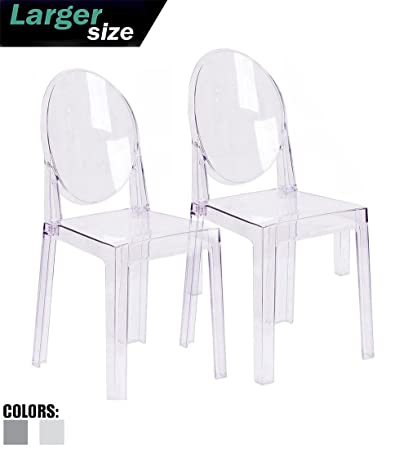 2xhome – Set of Two 2 – Clear – Large Size – Modern Ghost Side Chair Ghost Chair Clear Victoria Chairs Dining Room Chair – Accent Seat – Lounge No Arms Armless Arm Less Chairs