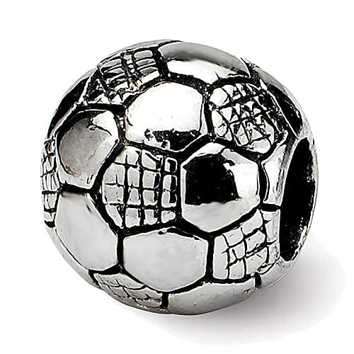 Lex & Lu - Cuenta de balón de fútbol para niños, plata de ley ...