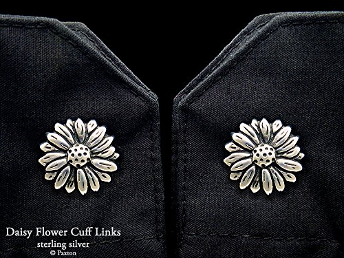 Daisy Flower Cuff Links in Solid Sterling Silver Hand Carved & Cast by Paxton by Paxton Jewelry