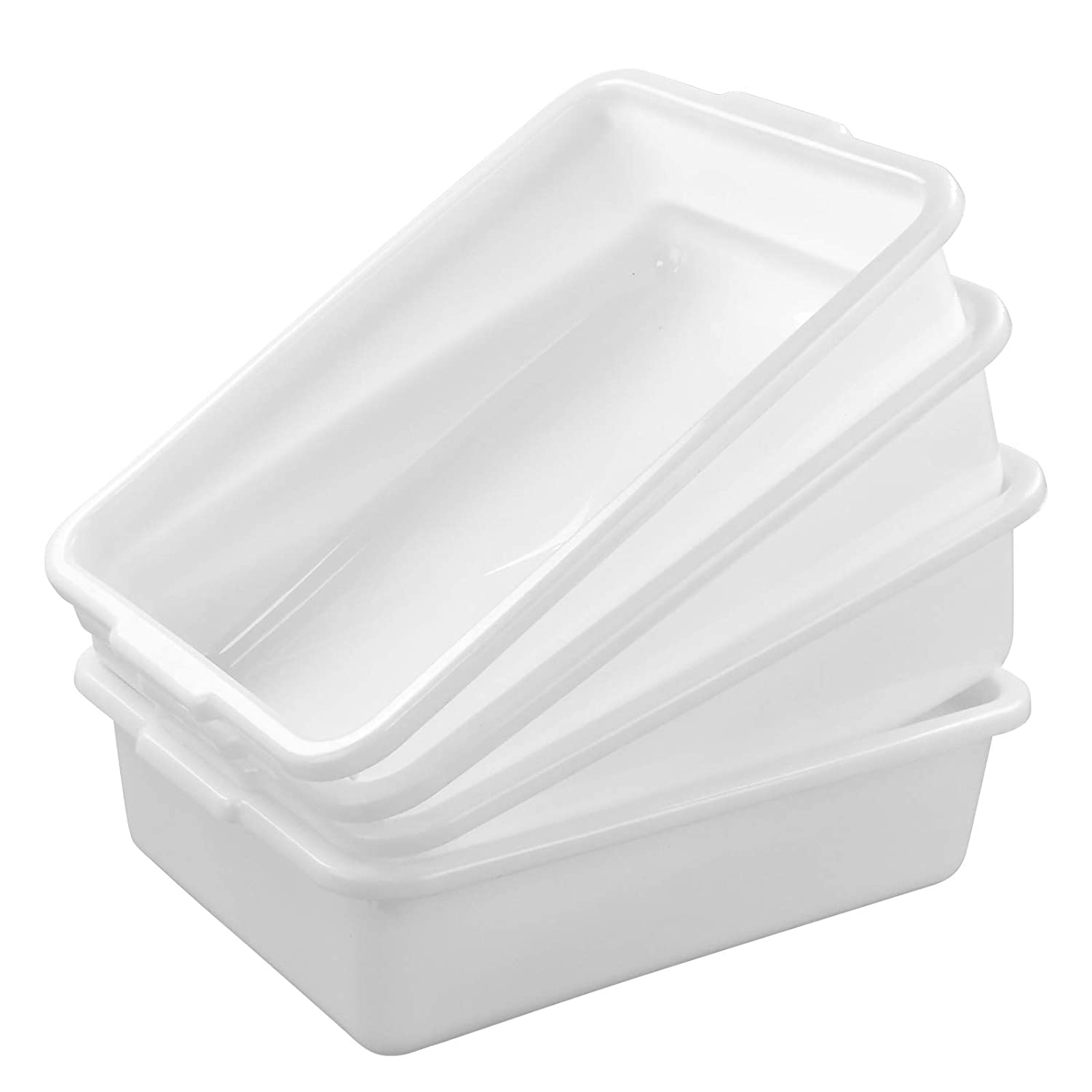 Dehouse White Plastic Bus Pans, 4 Packs Food Service Bus Tubs, 8 Liter