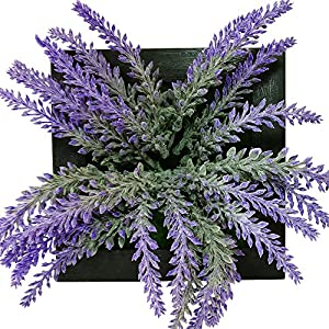 Evoio 3D Artificial Topiary Plants Wall Decor, fake Lavender Flowers Hanging Wall Decorative with Succulent Plant for Home Garden Wedding Decor 68
