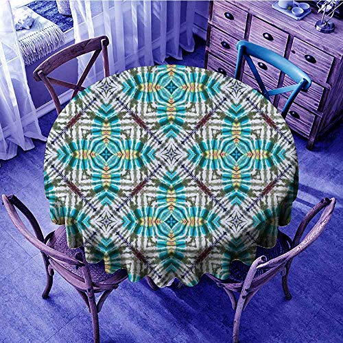 - ScottDecor Tie Dye Jacquard Tablecloth Double Exposure of Various Figures with Spectral Radiant Tint Blushes Illustration Outdoors Round Tablecloth Multicolor Diameter 54