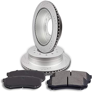 Front Disc Rotors /& Ceramic Brake Pads Fits Lexus Toyota 4Runner GX470