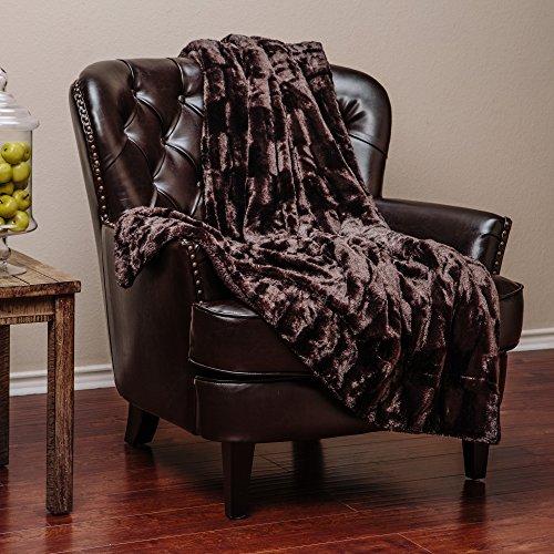 Dark Brown Plush (Chanasya Super Soft Fuzzy Fur Elegant Faux Fur Rectangular Embossed Pattern With Fluffy Plush Sherpa Cozy Warm Dark Chocklate Microfiber Throw Blanket (50