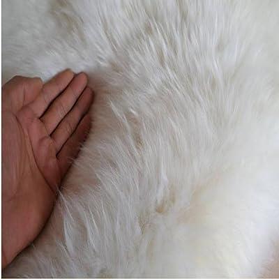 Sheepskin Rug Double Pelt Natural White Fur 2x6