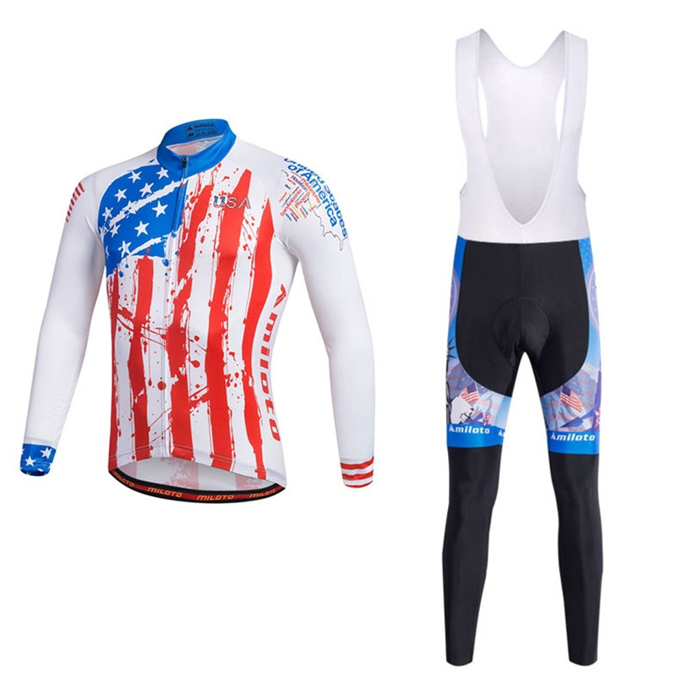 Uriah Men 's Cycling Jersey andホワイトよだれかけパンツ熱フリースセット長袖反射 B077XBCQNY Chest 43.3''=Tag XL USA Style USA Style Chest 43.3''=Tag XL