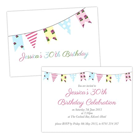 Personalised birthday party invitations floral birthday shabby chic personalised birthday party invitations floral birthday shabby chic bunting free draft free envelopes any stopboris Choice Image