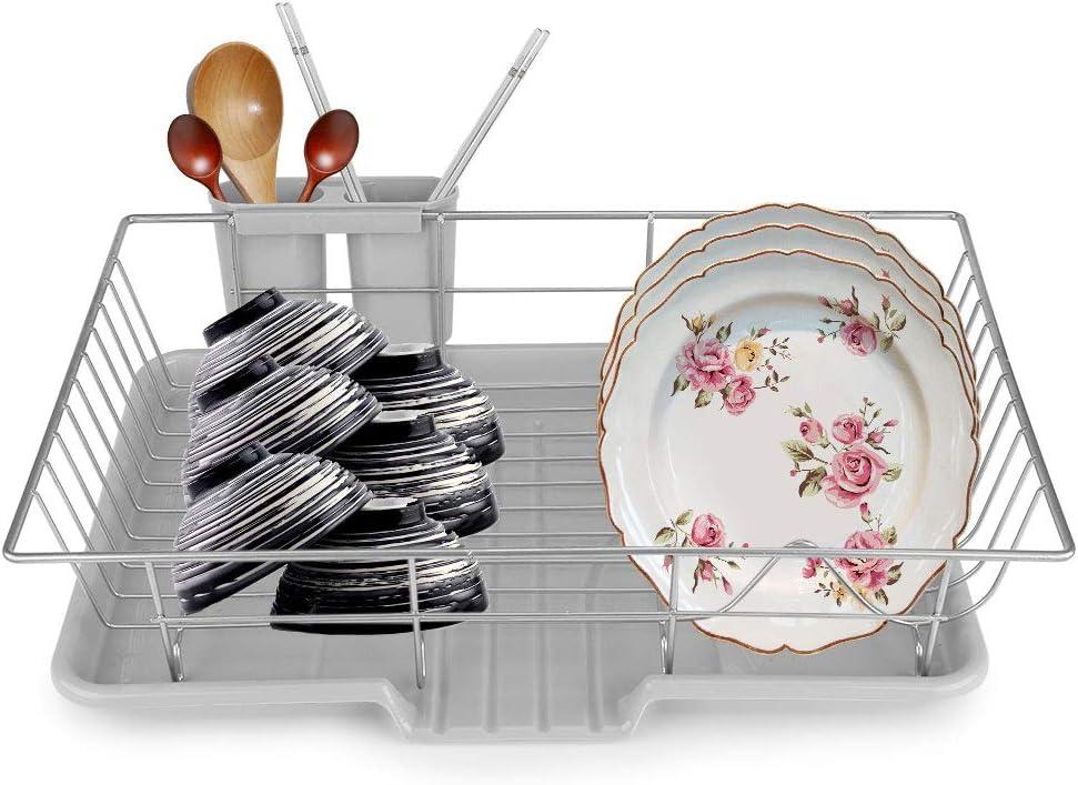 Bicchieri Piatti Estink Scolapiatti per Cucina in Acciaio Inox Portaposate Rivestimento Scolapiatti da Appoggio per Il Ripiano della Cucina e Il Lavandino per Asciugare Stoviglie