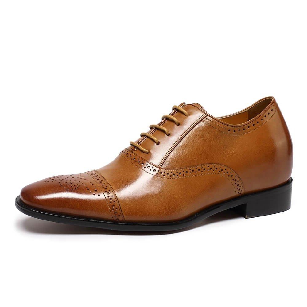 CHAMARIPA Height Increasing Elevator Shoes 2.76'' Taller Men Wingtip Oxford Dress Shoes K6531 (11 D(M),Brown) by CHAMARIPA