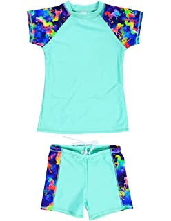 Sun Protection Two-Piece Swimwear Kangya PHIBEE Girls Short Sleeve Rash Guard Set UPF 50