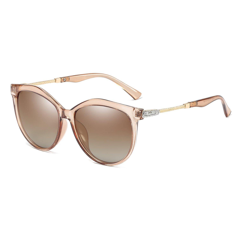 VeBrellen Women's Shades Polarized Sunglasses for Women UV Protection Eyewear Transparent Frame (Transparent Brown Frame Brown Lens)