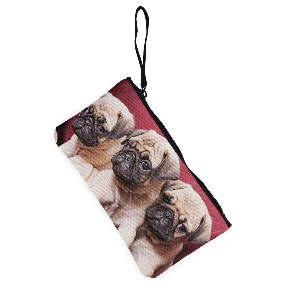 Deepouder Pugs Zipper Canvas Coin Purse Wallet Make Up Bag,Cellphone Bag With Handle