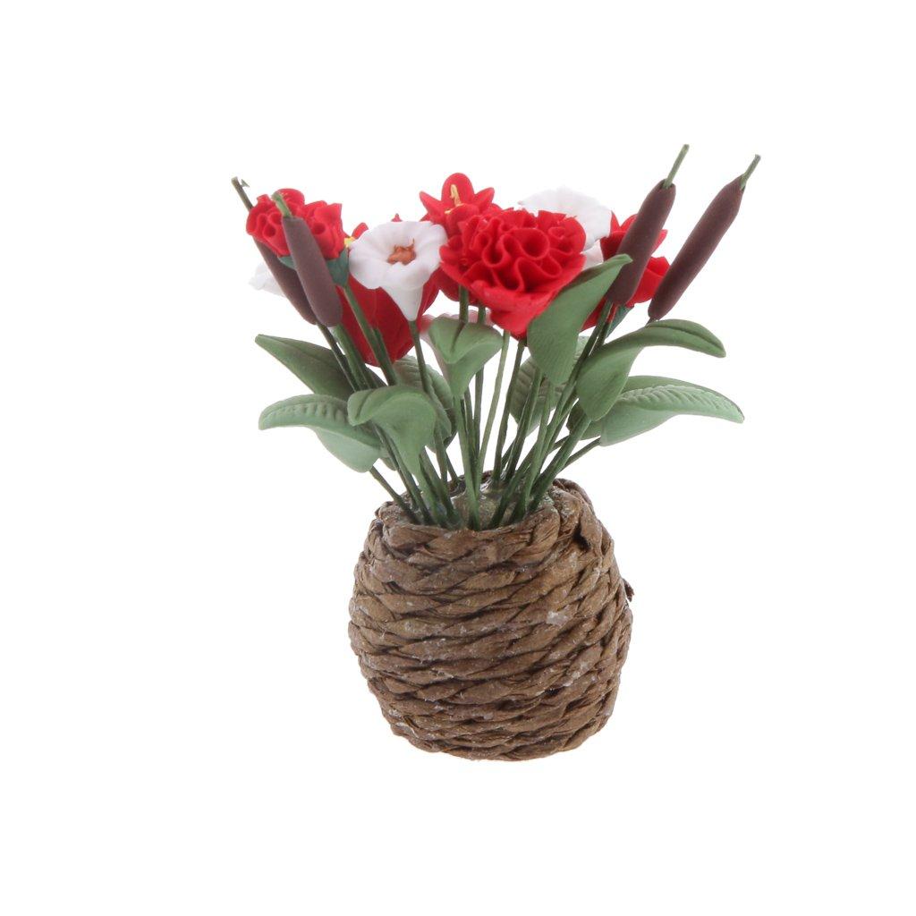 Fleurs Dargile Dollhouse Miniatures Fleurs Plantes Artificielles pour D/écoration de Maison de Poup/ée 3 # 8 mm