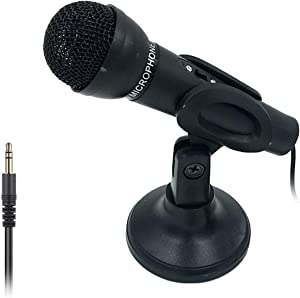 ESTIQ Computer Microphone, 3.5MM Plug and Play Omnidirectional Mic with Desktop Stand,Handheld/Desktop Dual-use Microphone Condenser Microphone for Computer, Smartphone, iPad, Karaoke, Games