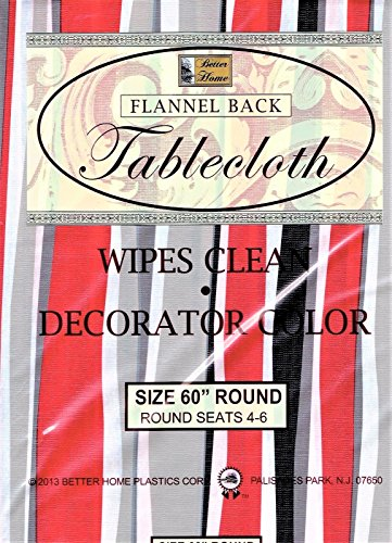 Better Home Vinyl Tablecloth Red Gray Stripes Decorator Design Flannel Backed (60