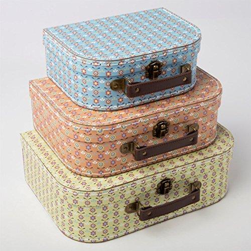 Juego de 3 pequeñas maletas vintage con diseño de mosaicos con margaritas: Amazon.es: Hogar