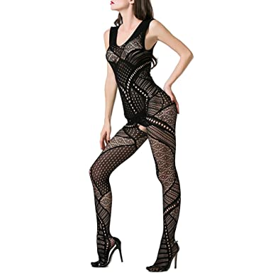 7408d1c7f9 Image Unavailable. Sexy Lingerie Women Plus Size Body Stocking Fishnet  Crotchless Bodystocking Garter Teddy Mini Dress Babysuit Nightwear