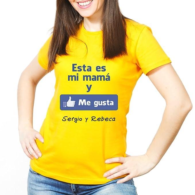 dbd49fb7269 Calledelregalo Regalo para Madres Personalizable: Camiseta 'Esta es mi mamá  y me Gusta'