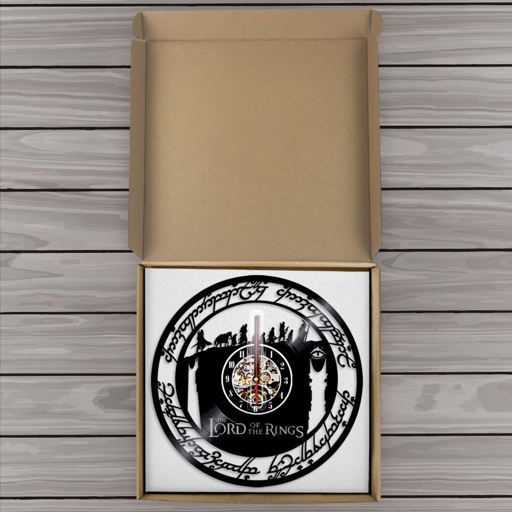 WXK Reloj De Pared De Barrido Silencioso Sin Hacer Tictac, Reloj De Registro del Vinilo El Señor De Los Adornos del Anillo para La Sala De Estar del ...