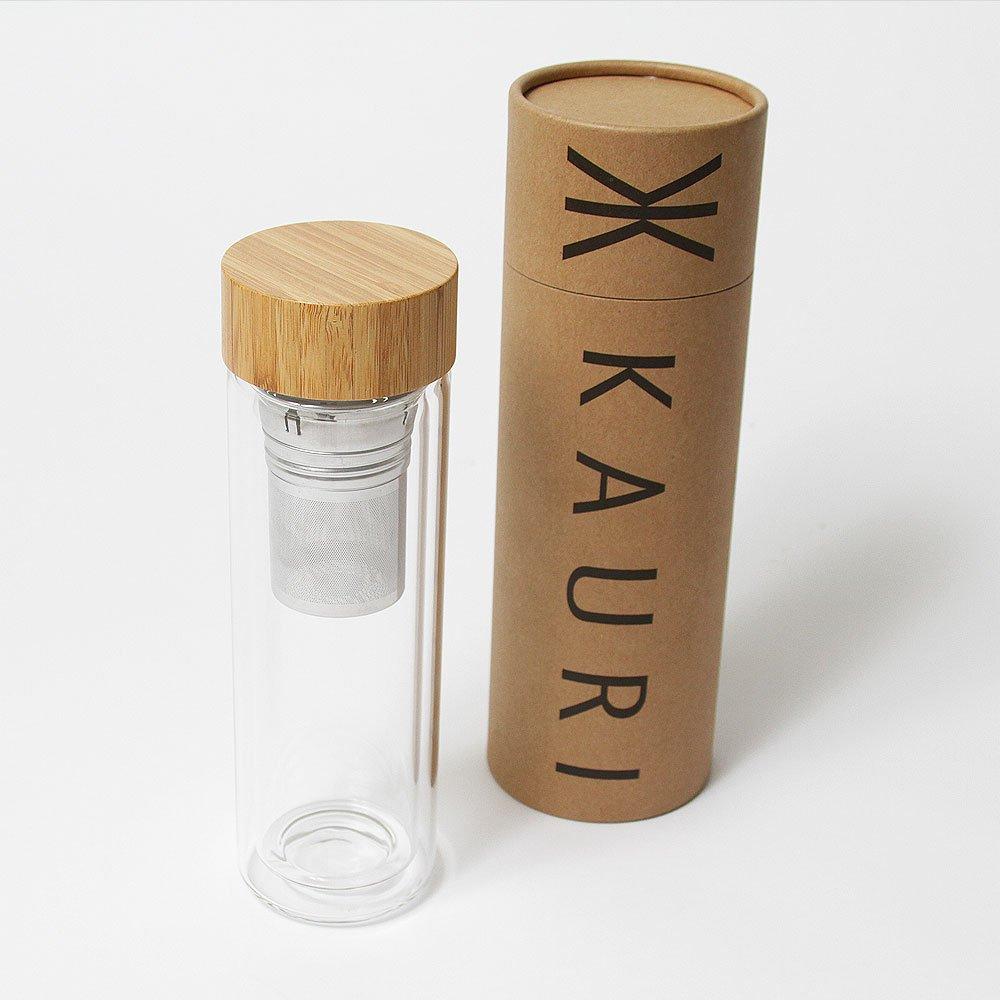 Doble pared botella de agua de vidrio con tapa de bambú con ...