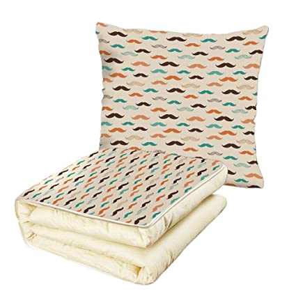 Amazon Quilt Dual Use Pillow Indie Retro Mustache Pattern In