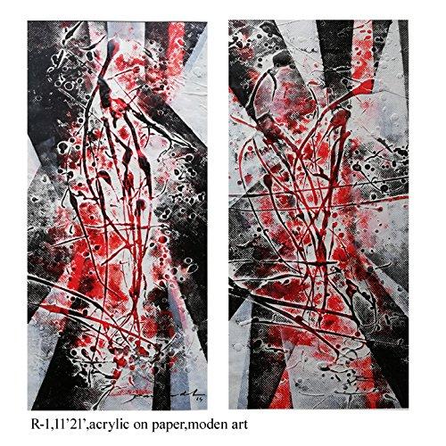 (Pooja ki Potli Untitled- R-1 Original Modern Art Acrylic Painting on Handmade paper-Set of 2- Home Décor- Interior Décor 11