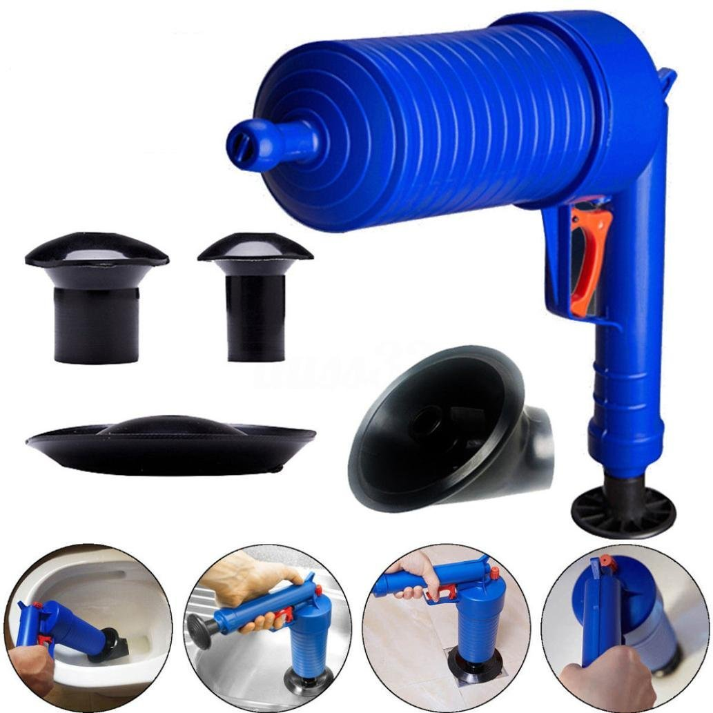 Snowfoller-Air Drain Blaster-Drain Blaster Power Drain Cleaner-High Pressure Air Drain Blaster Pump Plunger Sink Pipe Clog Remover 4 Suckers