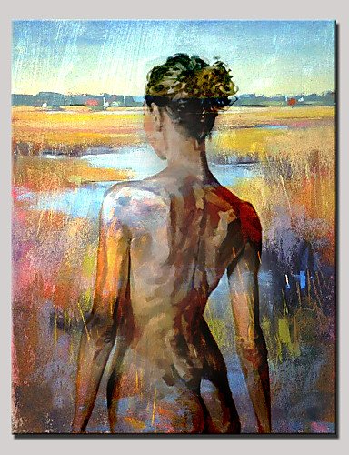 """FMY Hand-Painted Beauty Nude Back Abstract Portrait Modern Oil Painting , Canvas One Panel With Frame Ready to Hang 80x120cm , 24"""" x 36"""""""