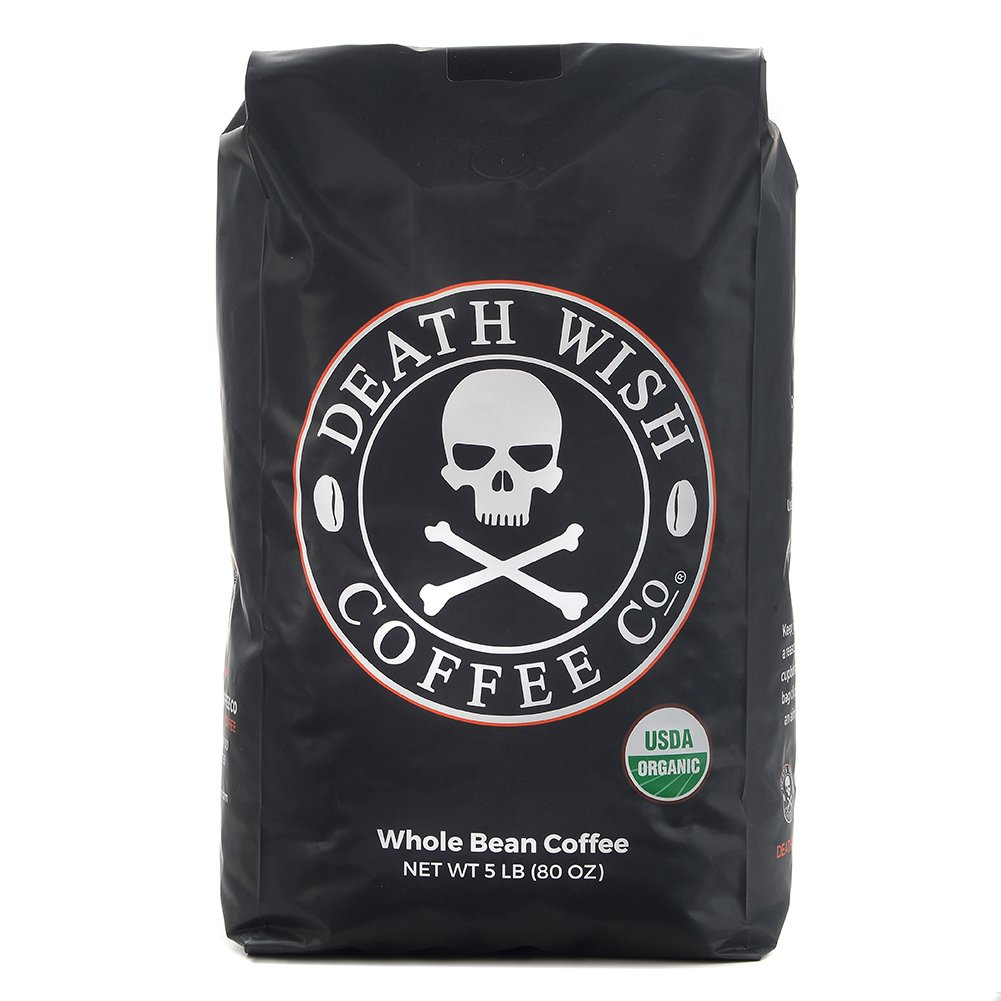 Death Wish Whole Bean Coffee, The World's Strongest Coffee, Fair Trade and USDA Certified Organic - 5 Pound Bulk Value-Bag by Death Wish Coffee Co.