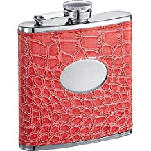 Visol Sweety Crocodile Leatherette Stainless Steel Hip Flask, 6-Ounce, Hot Pink